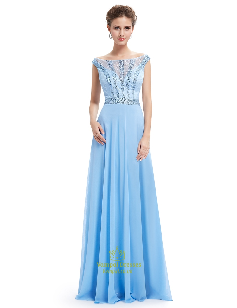 Light Blue Lace Illusion Neckline Chiffon Prom Dress With Beaded ...