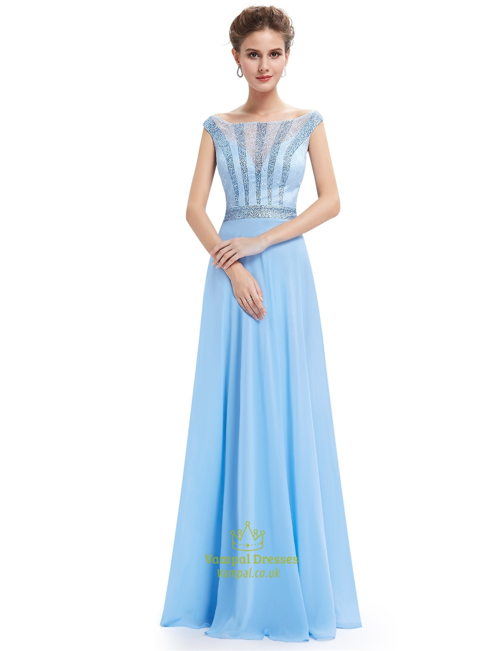 light blue lace illusion neckline chiffon prom dress with