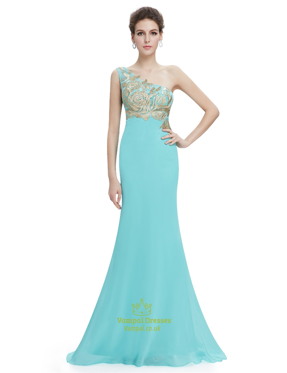 Mint Green One Shoulder Mermaid Chiffon Prom Dress With Gold Accents ...