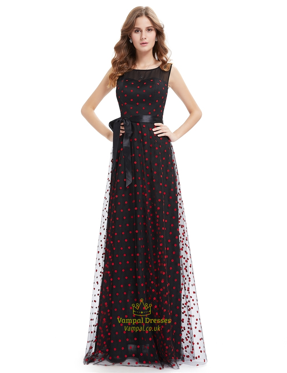Poke-A-Dot Sheer Black Prom Dresses