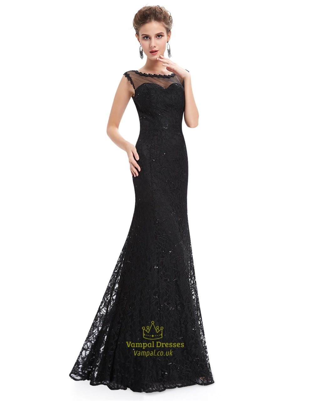 Black floor length illusion neck prom dress with lace for Floor length dresses