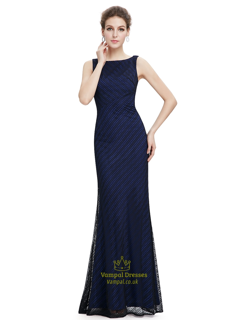 Navy blue lace mermaid long bridesmaid dress vampal dresses for Blue long dress wedding
