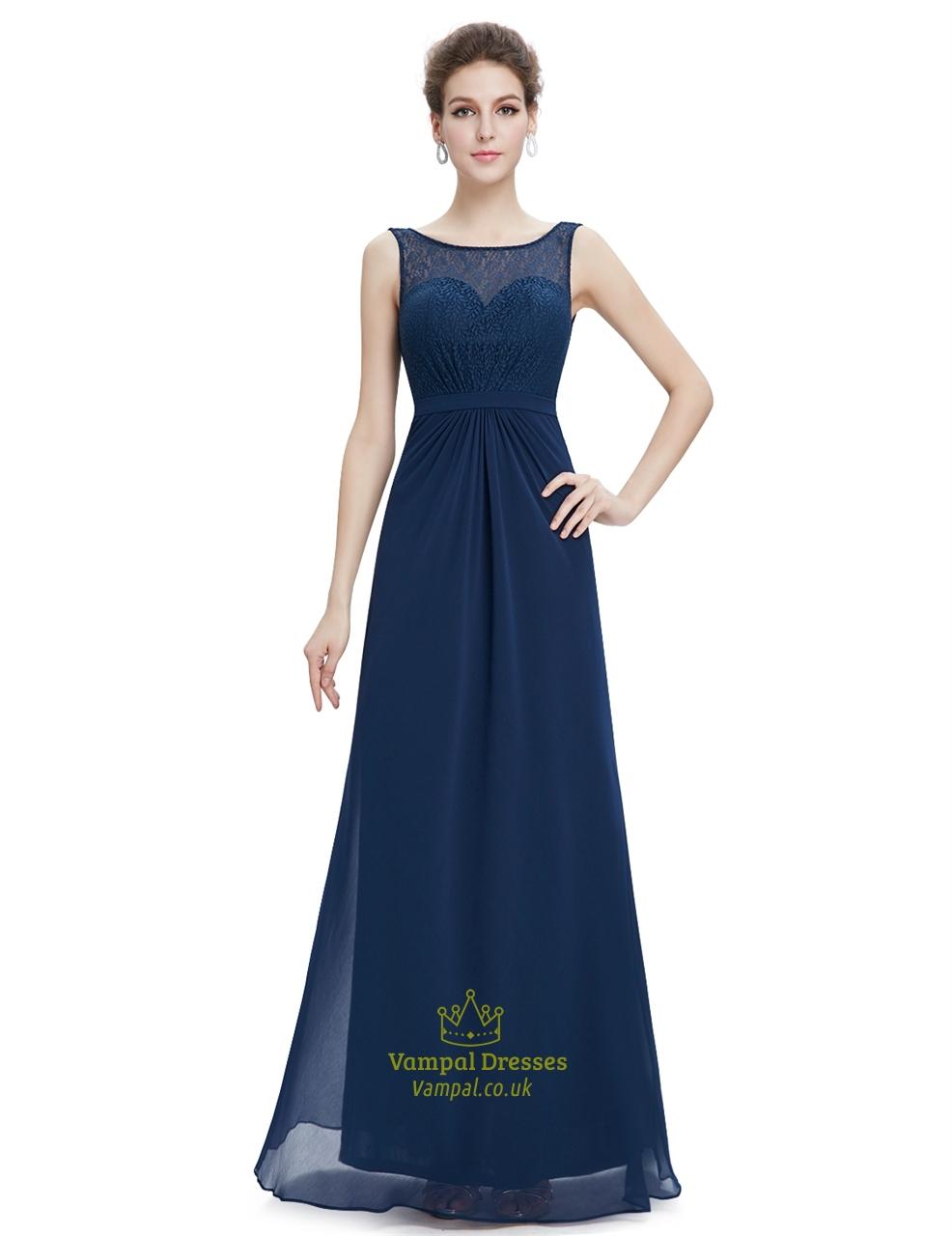 Elegant navy blue long chiffon sheer illusion neckline for Wedding dresses with sheer illusion neckline