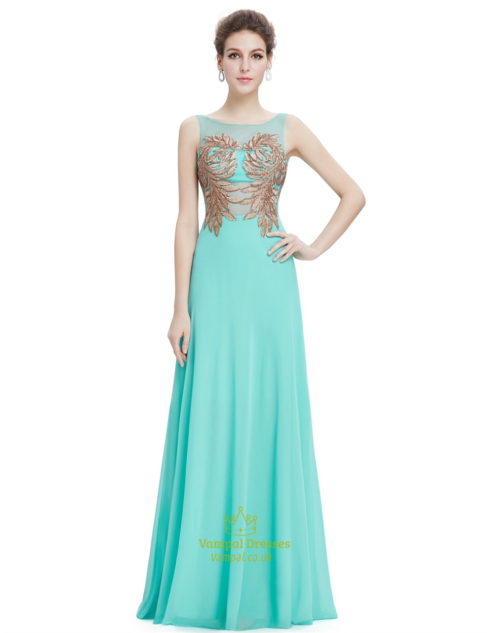 Mint Green Sleeveless Chiffon Prom Dress With Gold Accents Vampal
