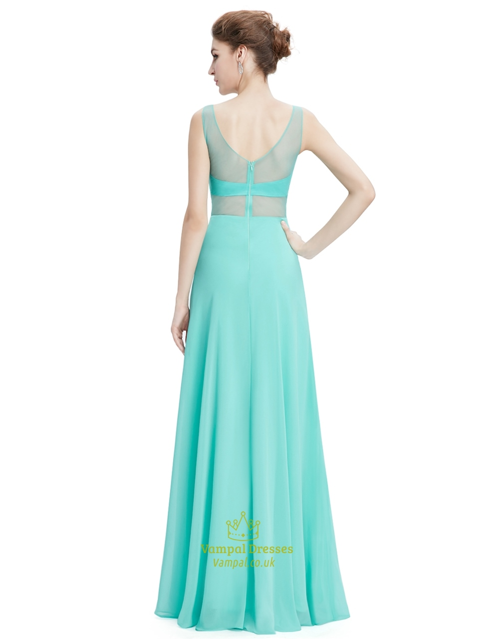 Mint Green Sleeveless Chiffon Prom Dress With Gold Accents   Vampal ...