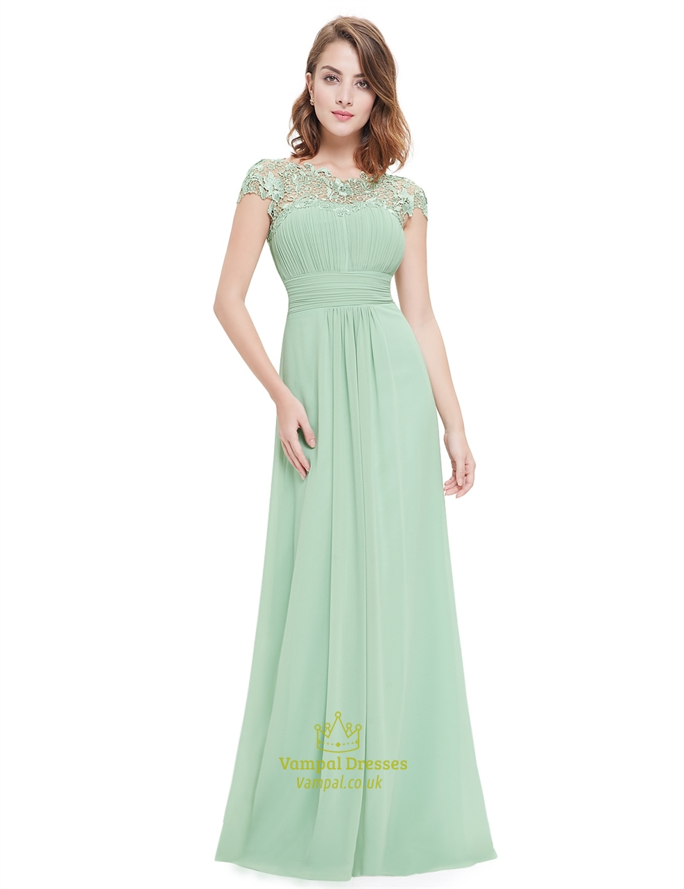a25eb943b7d Mint Green Illusion Neckline Prom Dresses With Lace Applique SKU -NW1633