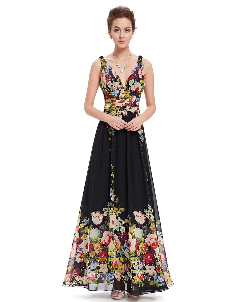 Black Deep V Neck Floral Print Long Chiffon Prom Dresses