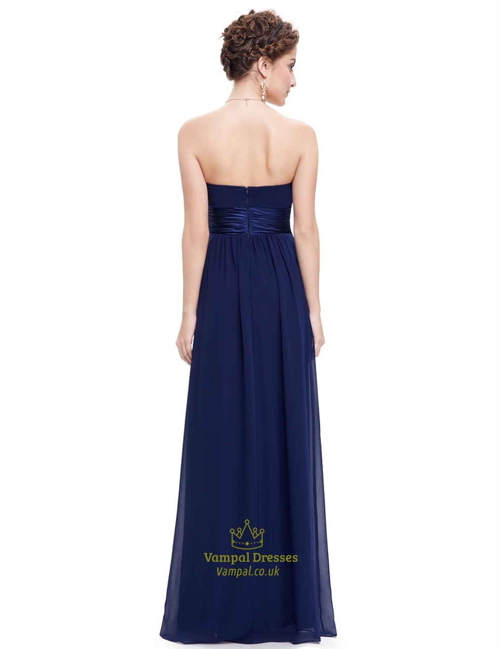 Navy Blue Long Open Back Chiffon Bridesmaid Dresses With Ruching | Vampal Dresses