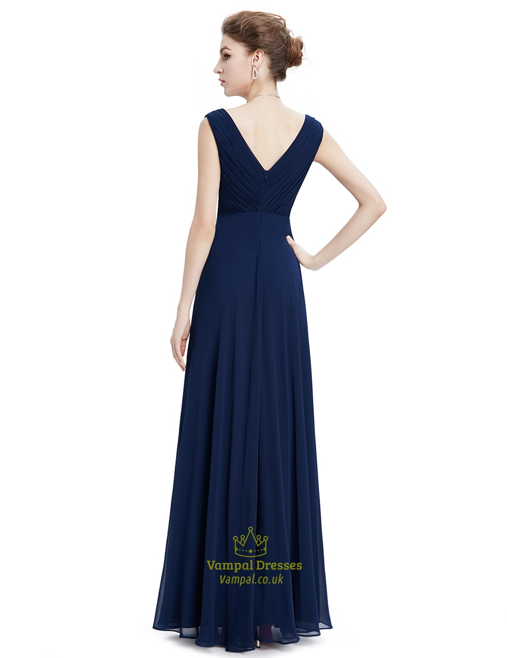 Navy Blue Floor Length Chiffon Prom Dress With Beaded Lace ...