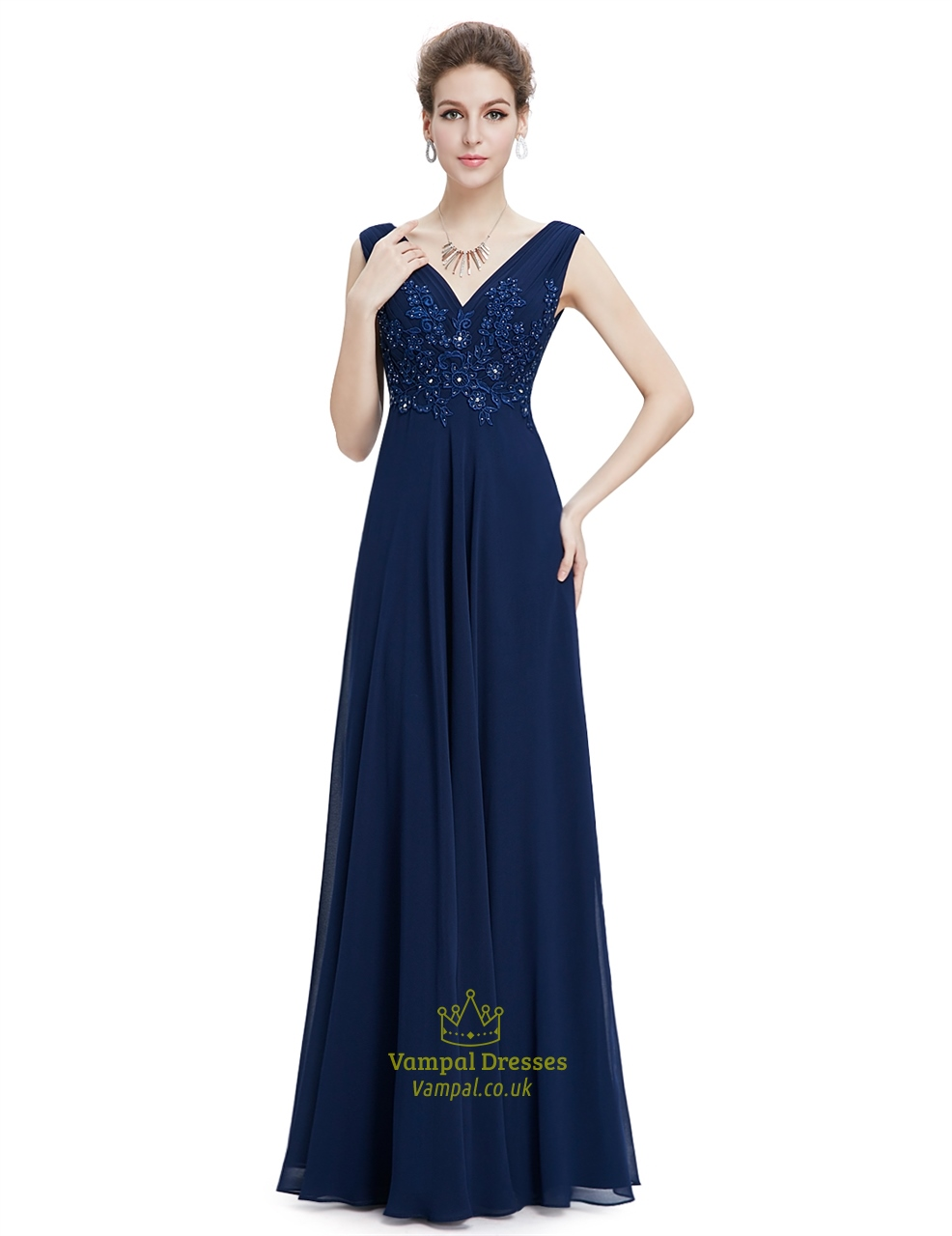Navy blue floor length chiffon prom dress with beaded lace for Floor length dresses
