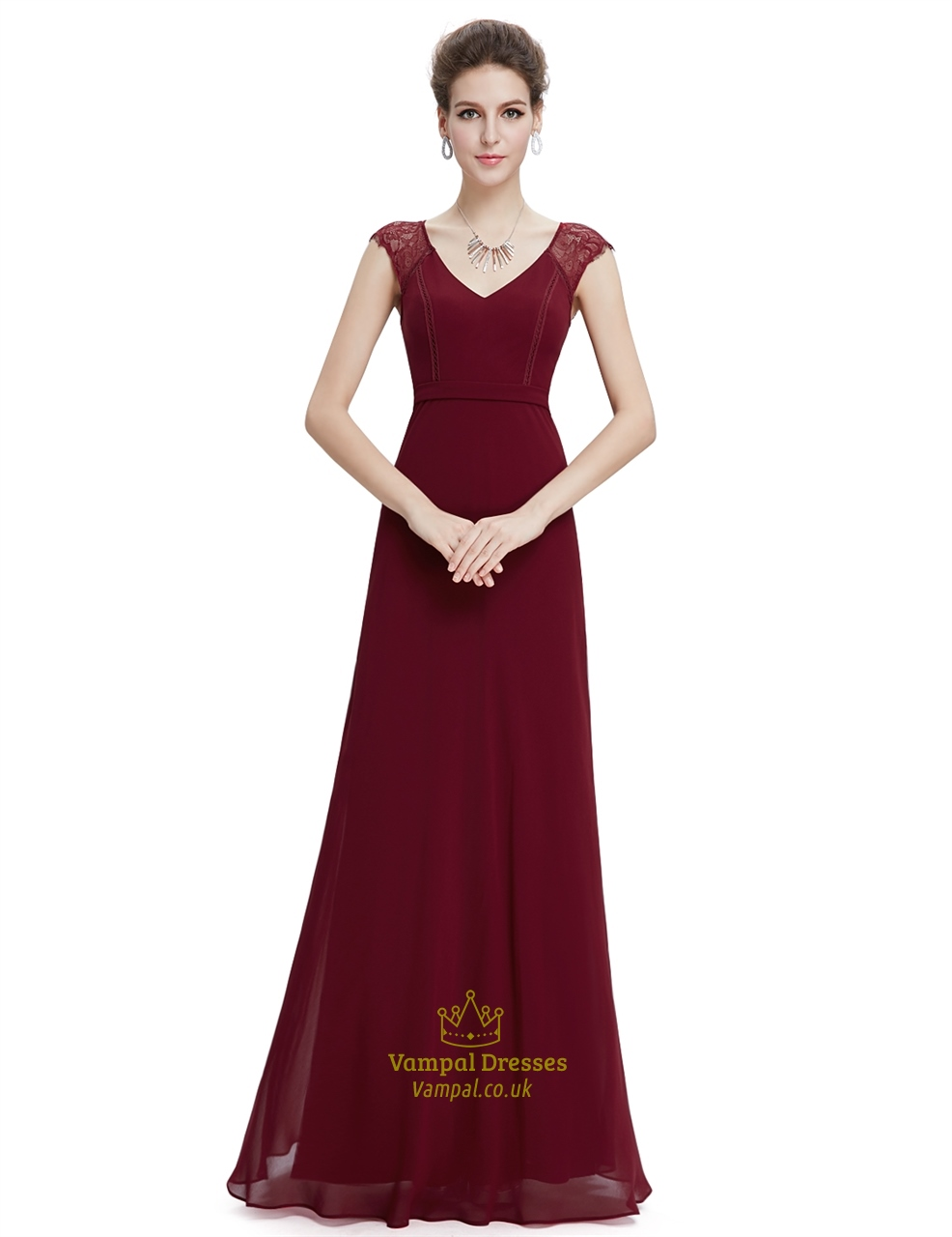 Burgundy A Line Chiffon Prom Dresses With Lace Cap Sleeves | Vampal ...