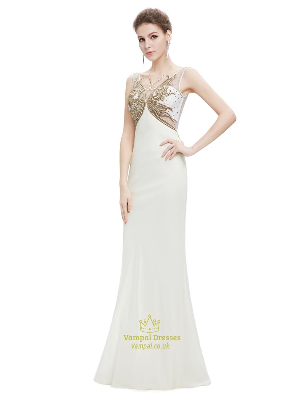 Ivory chiffon prom dresses