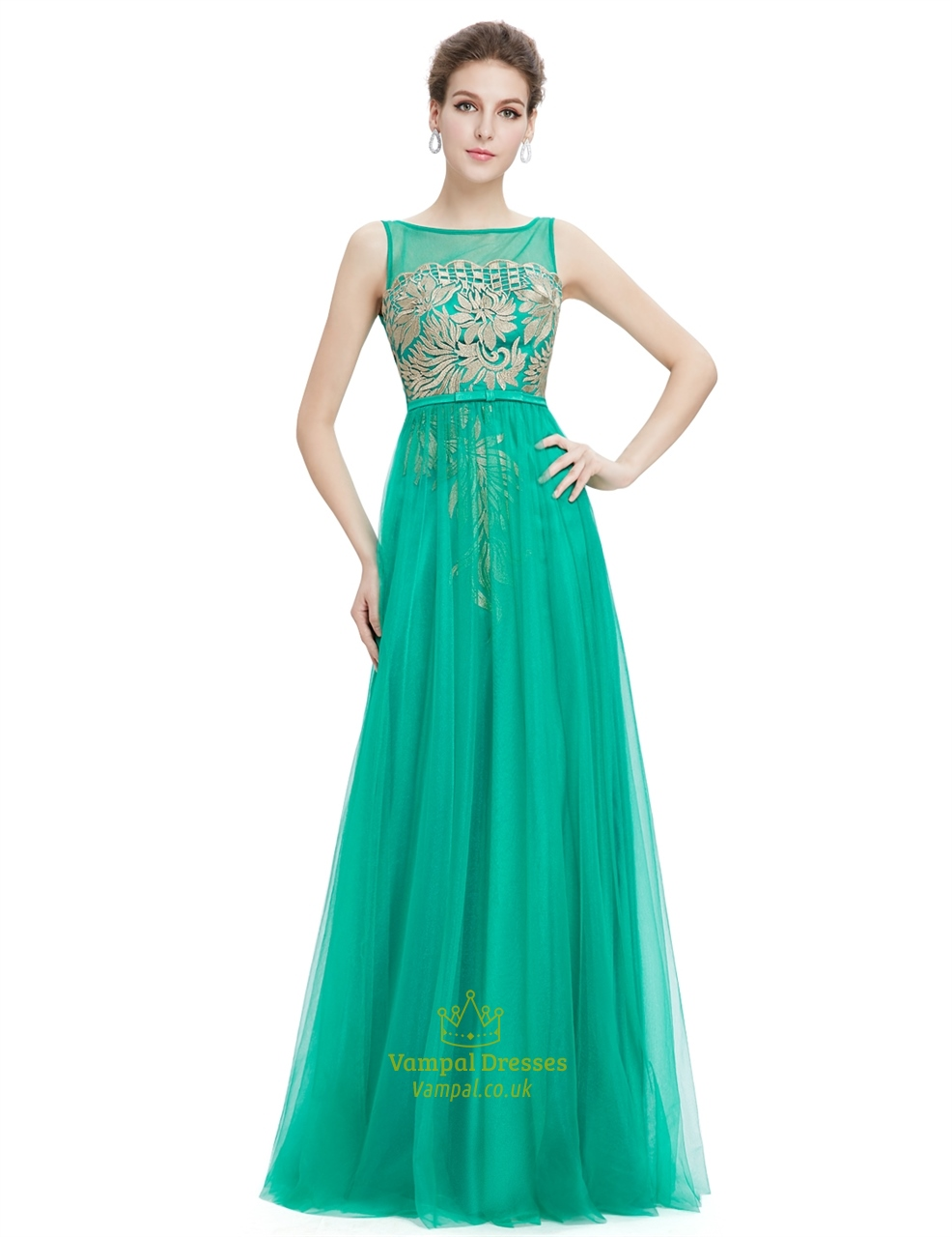 Green Sleeveless Tulle Prom Dress With Gold Accents | Vampal Dresses