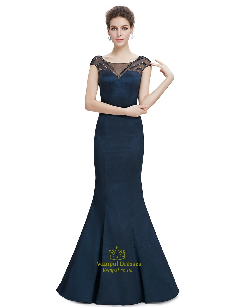 Navy Blue Sheer Back Prom Dresses With Beaded Top Vampal