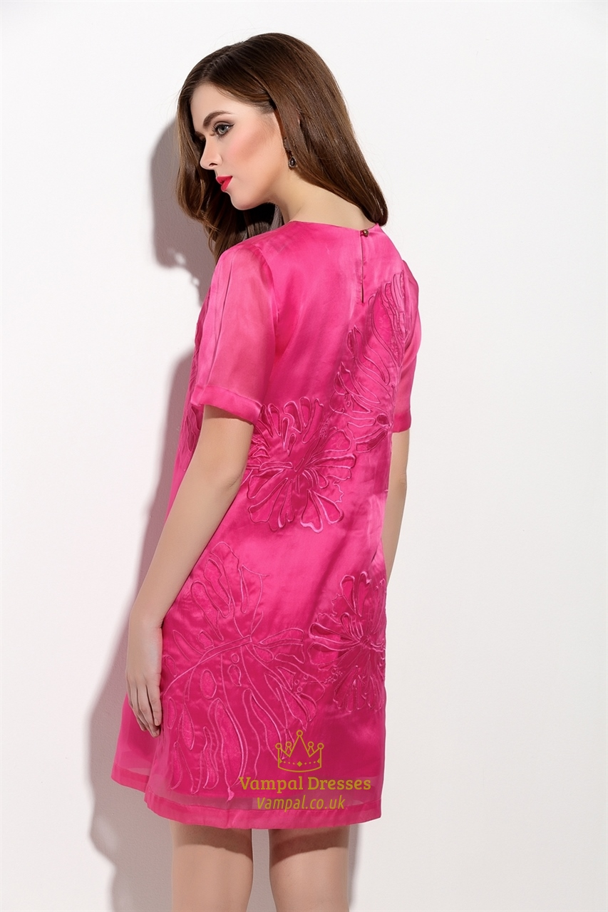 fuchsia embroidered floral short sleeve casual summer