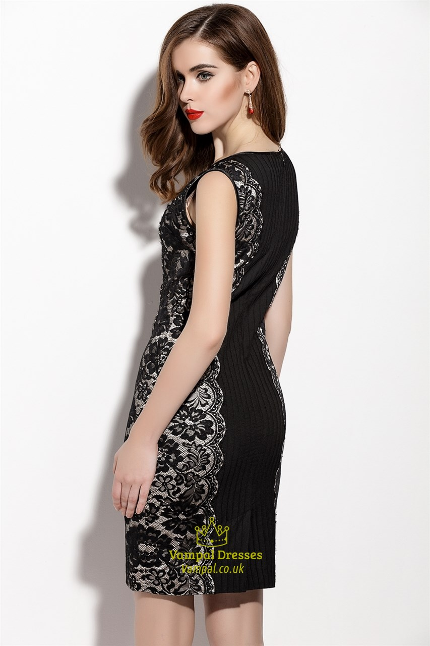 Black Sleeveless Sheath Cocktail Dresses With Lace