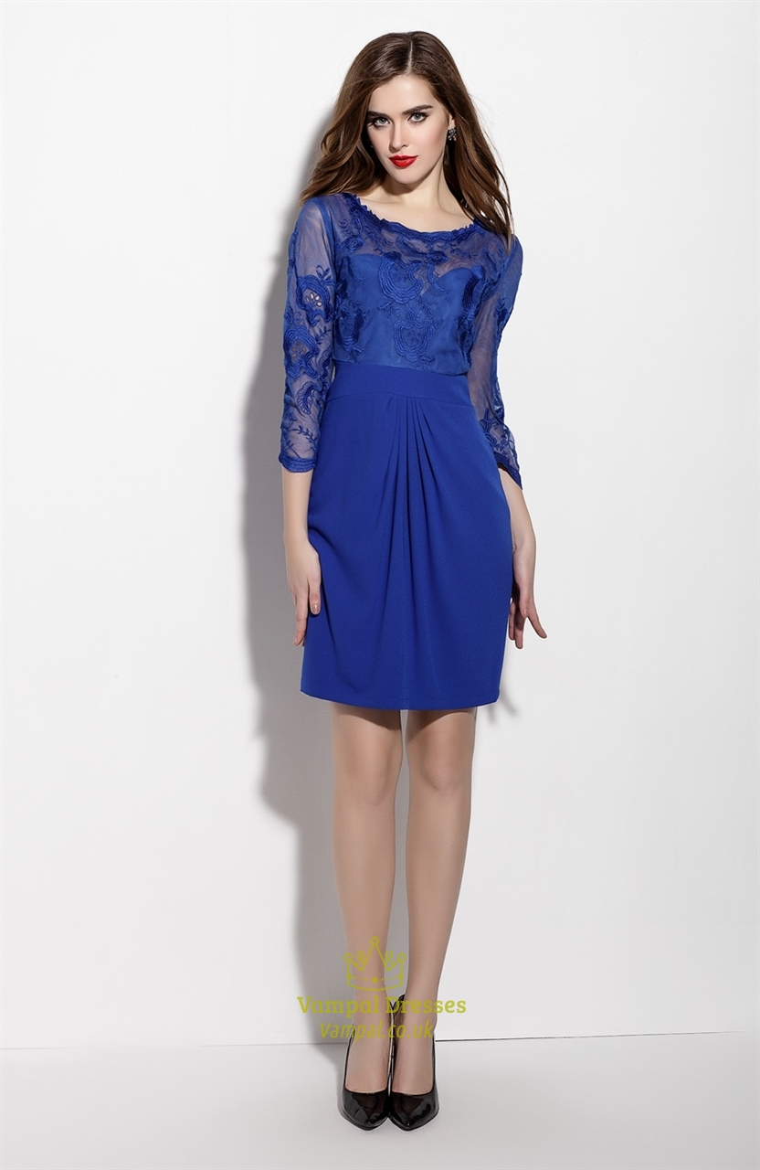 Royal Blue Lace Illusion Neckline Cocktail Dress With 3/4 Sleeve ...