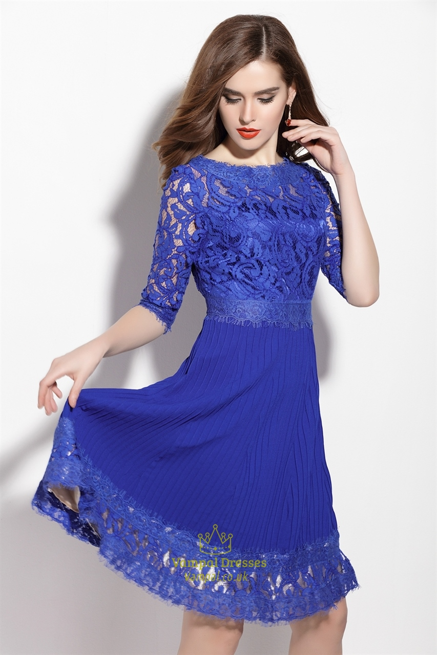 Royal Blue Lace Applique Fit And Flare Dress With 3/4 ...
