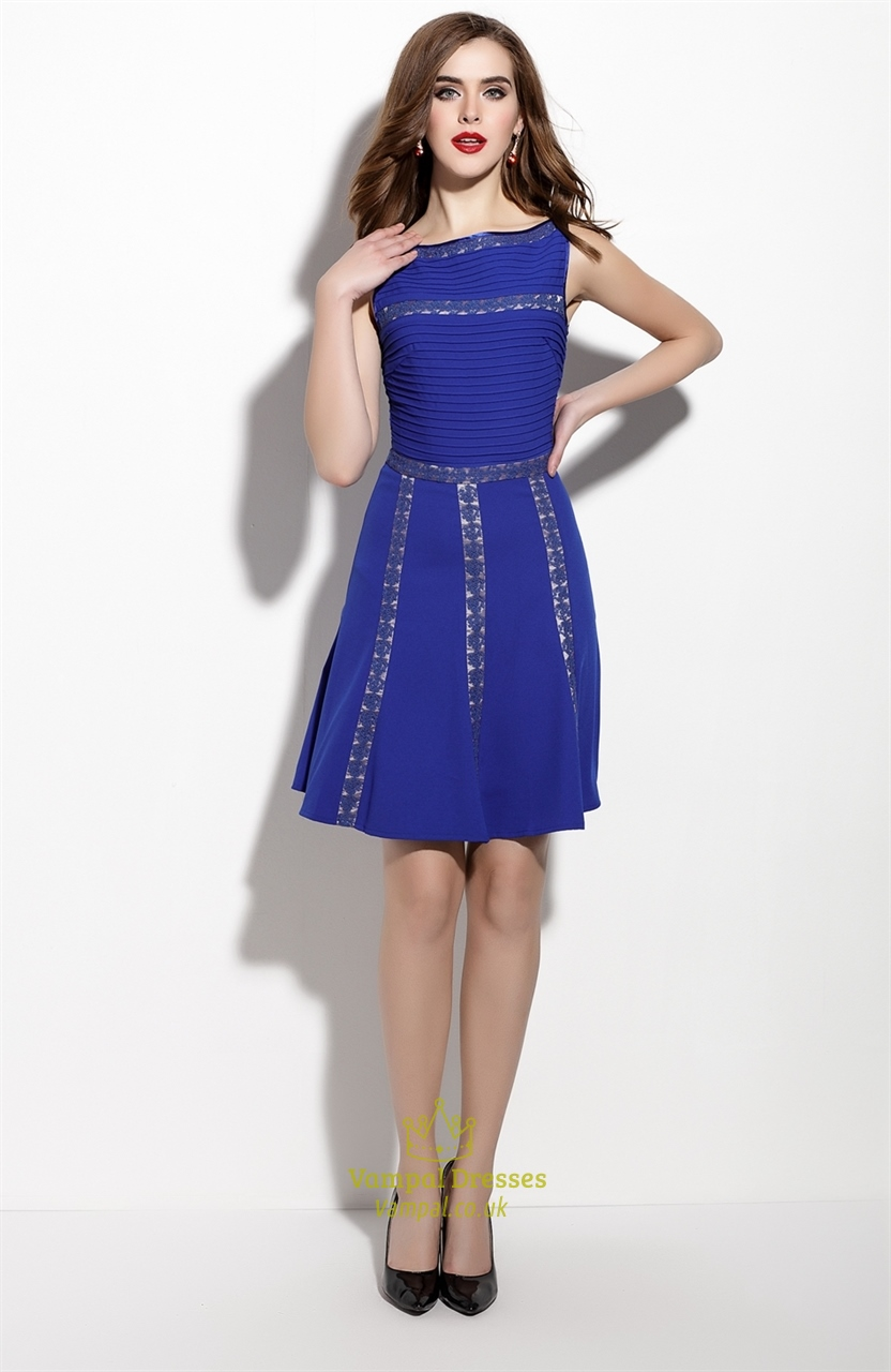 c77aecbdb4 Royal Blue Lace Embroidered Sleeveless Fit And Flare Skater Dress SKU -ML053
