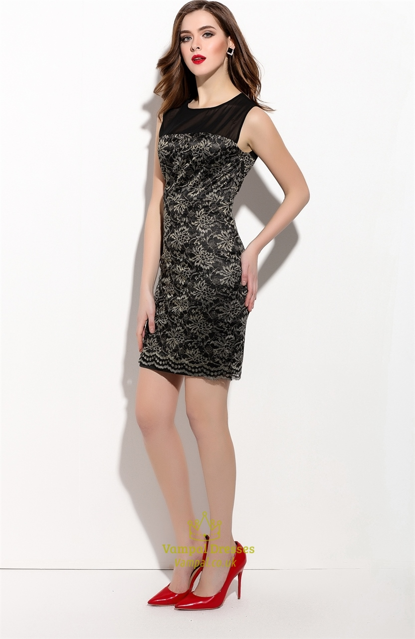 Black Sleeveless Short Sheath Cocktail With Lace Applique