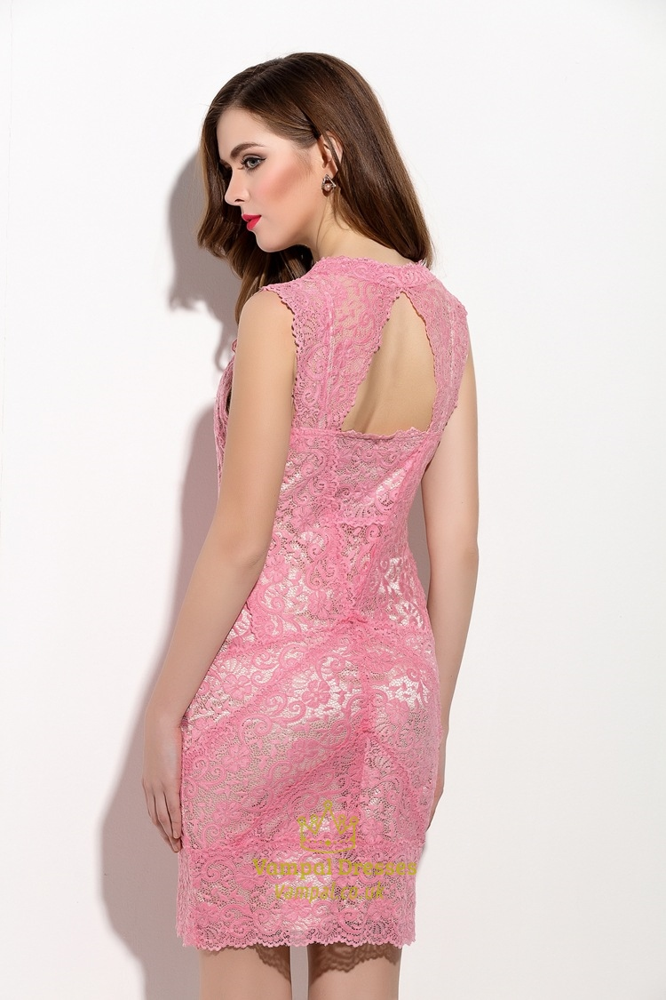 Pink Sleeveless Lace Sheath Cocktail Dress With Straps