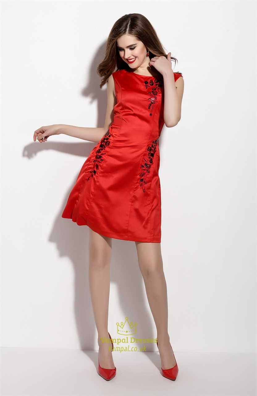 Red Embroidery Sleeveless Sheath Cocktail Dress Vampal