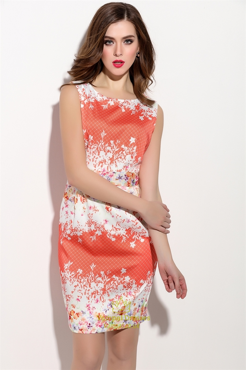 Casual Summer Orange And White Sleeveless Floral Print ...