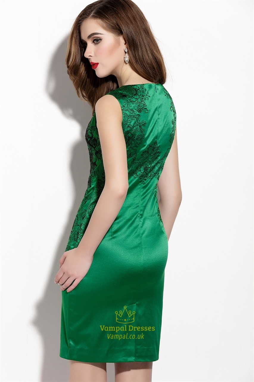 emerald green embroidered sleeveless sheath cocktail dress