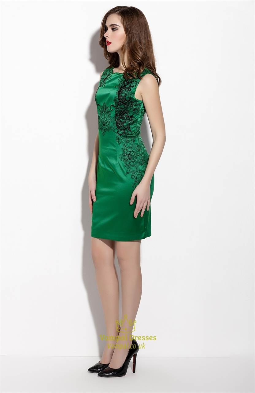 Emerald Green Embroidered Sleeveless Sheath Cocktail Dress