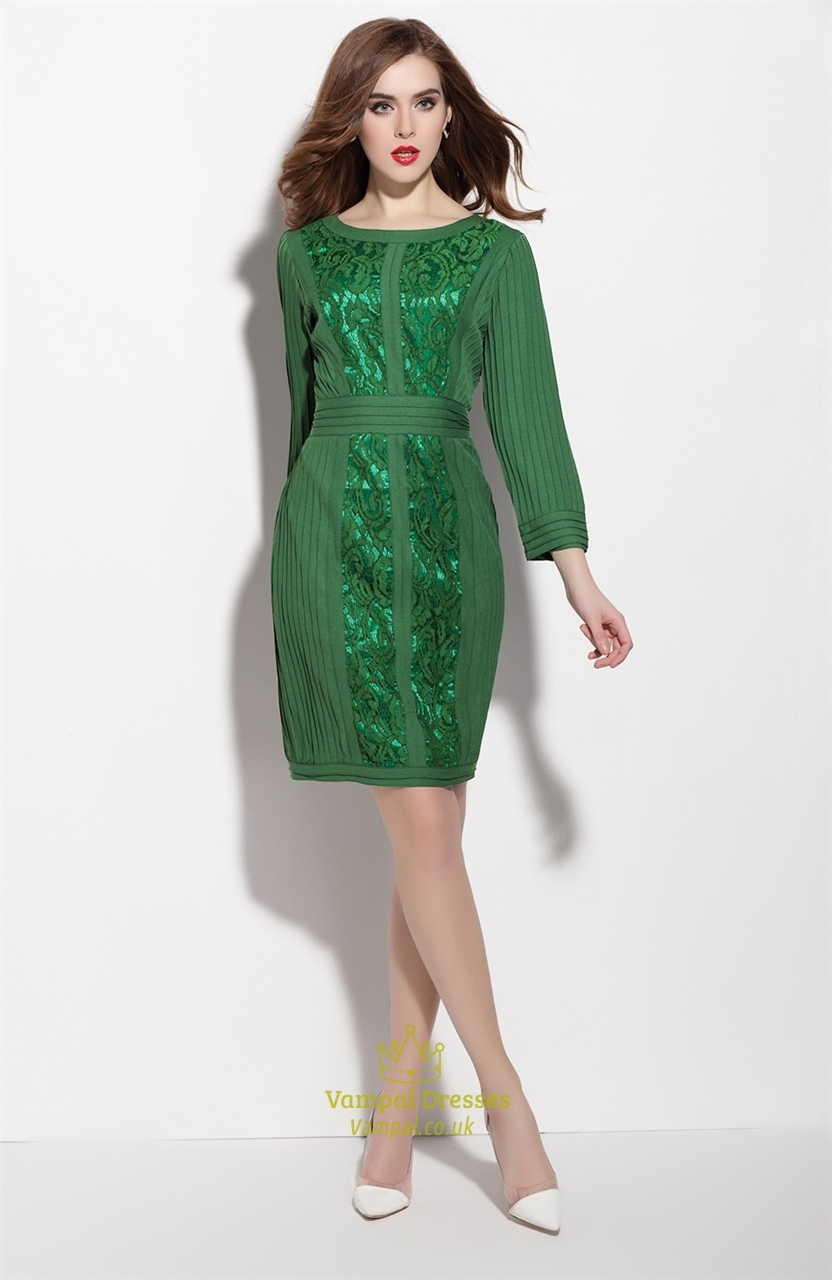 Emerald Green Long Sleeve Dress With Lace Embellished Bodice | Vampal Dresses