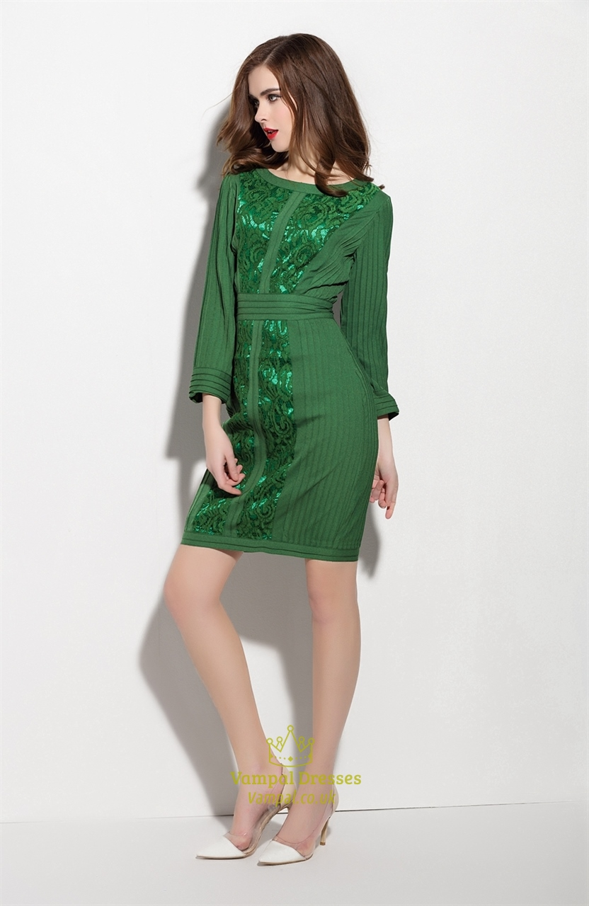 emerald green long sleeve dress with lace embellished