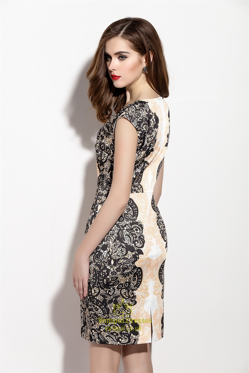 Floral Print Sheath Cocktail Dress With Cap Sleeves