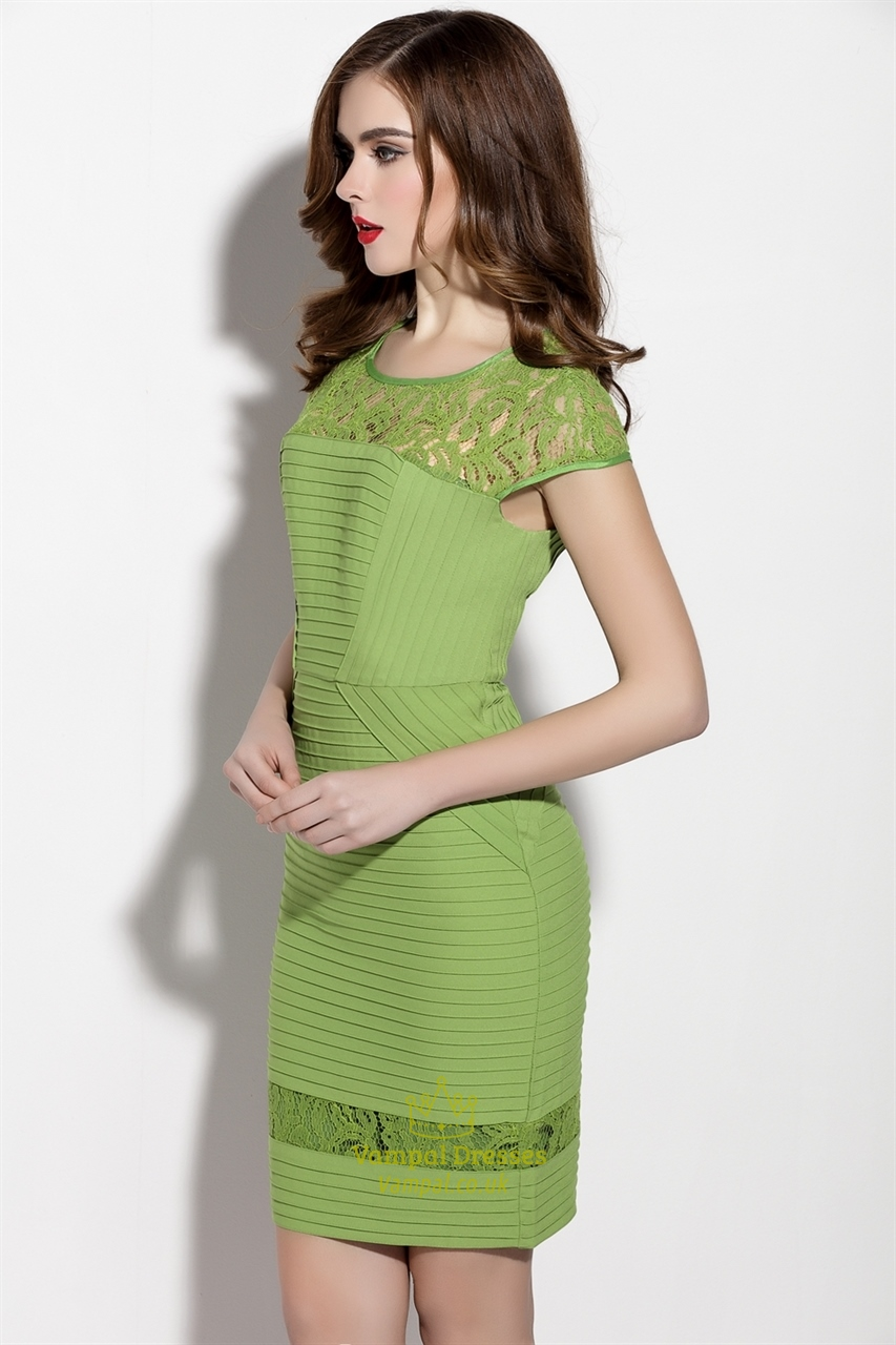 Green Lace Illusion Neckline Sheath Dress With Cap Sleeve