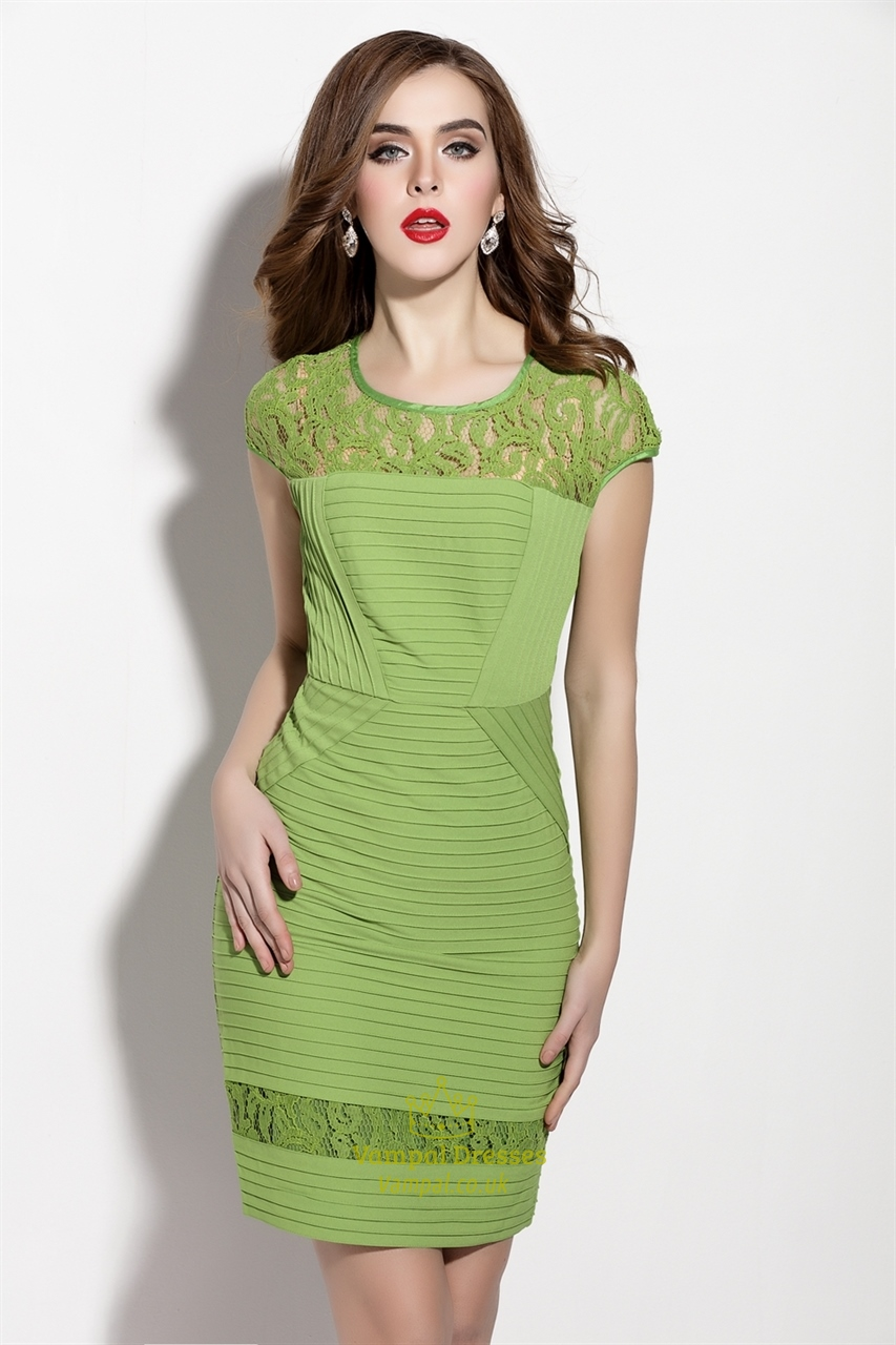 Green Lace Illusion Neckline Sheath Dress With Cap Sleeve ...