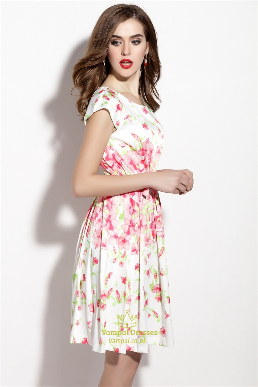Floral Print Cap Sleeve Summer Dress With Bow Belt ...