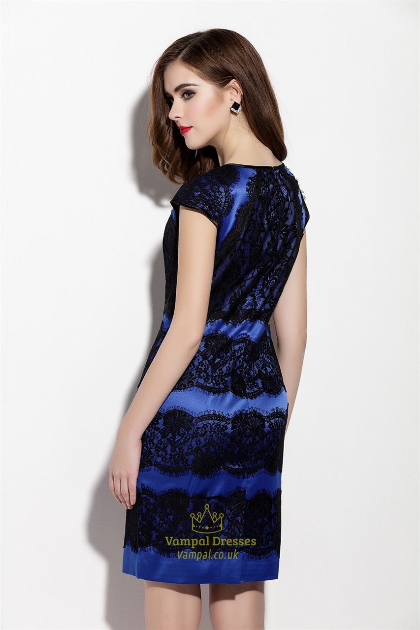 Royal Blue Lace Applique Sheath Dress With Cap Sleeve ...