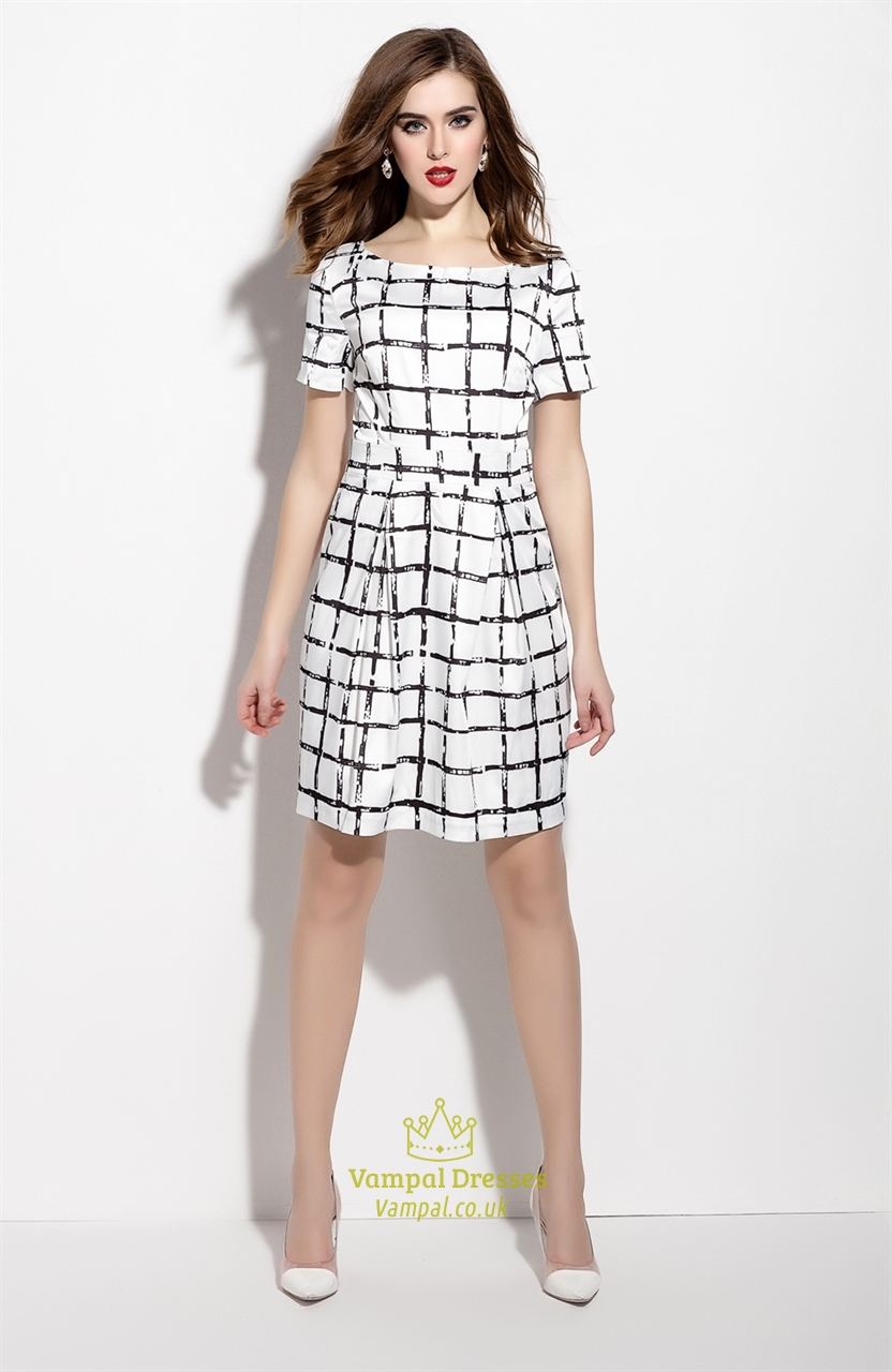 6614fcaf81a White And Black Short Checkered Dress With Short Sleeve | Vampal Dresses