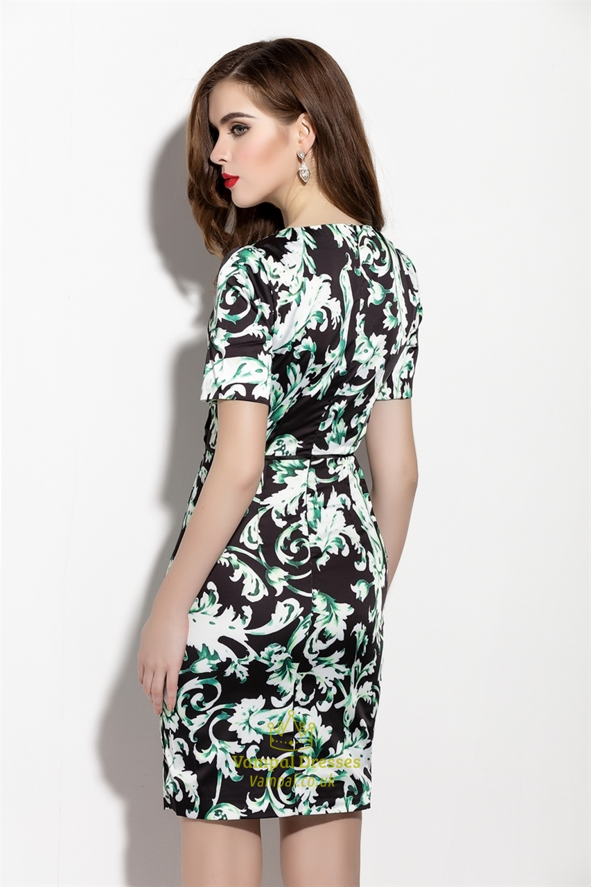 Black And Green Floral Print Sheath Dresses With Short
