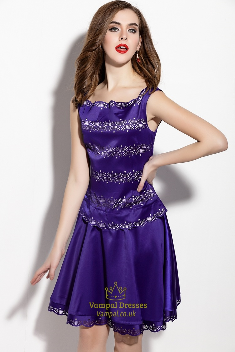 Purple Sleeveless Square Neckline Embellished A Line Dress