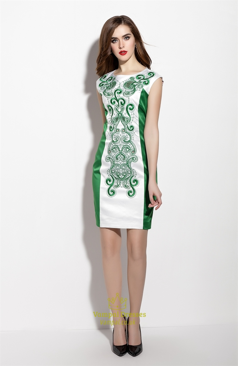 White And Green Sleeveless Hollow Out Embroidered Sheath