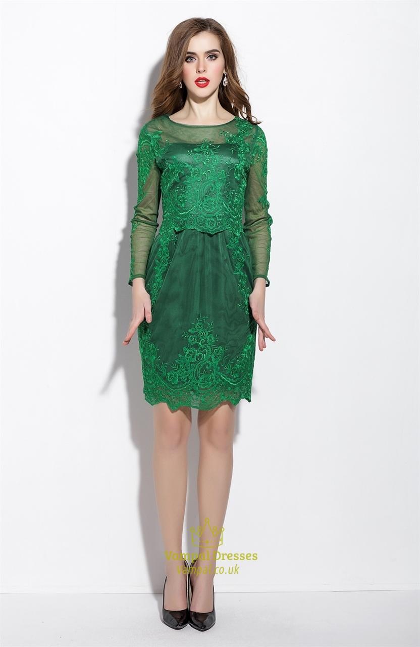 Emerald Green Sheer Illusion Neckline Tulle Overlay