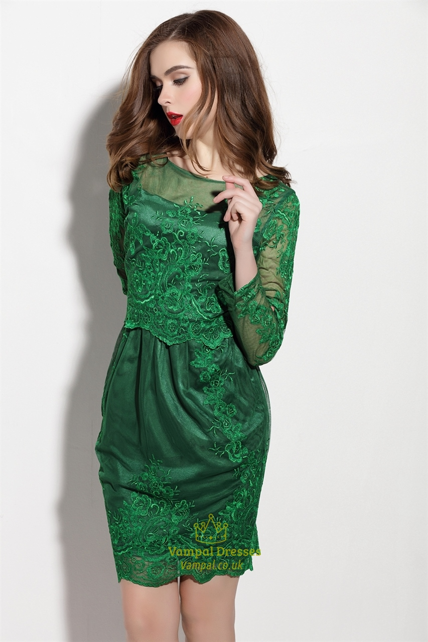 Emerald Green Sheer Illusion Neckline Tulle Overlay