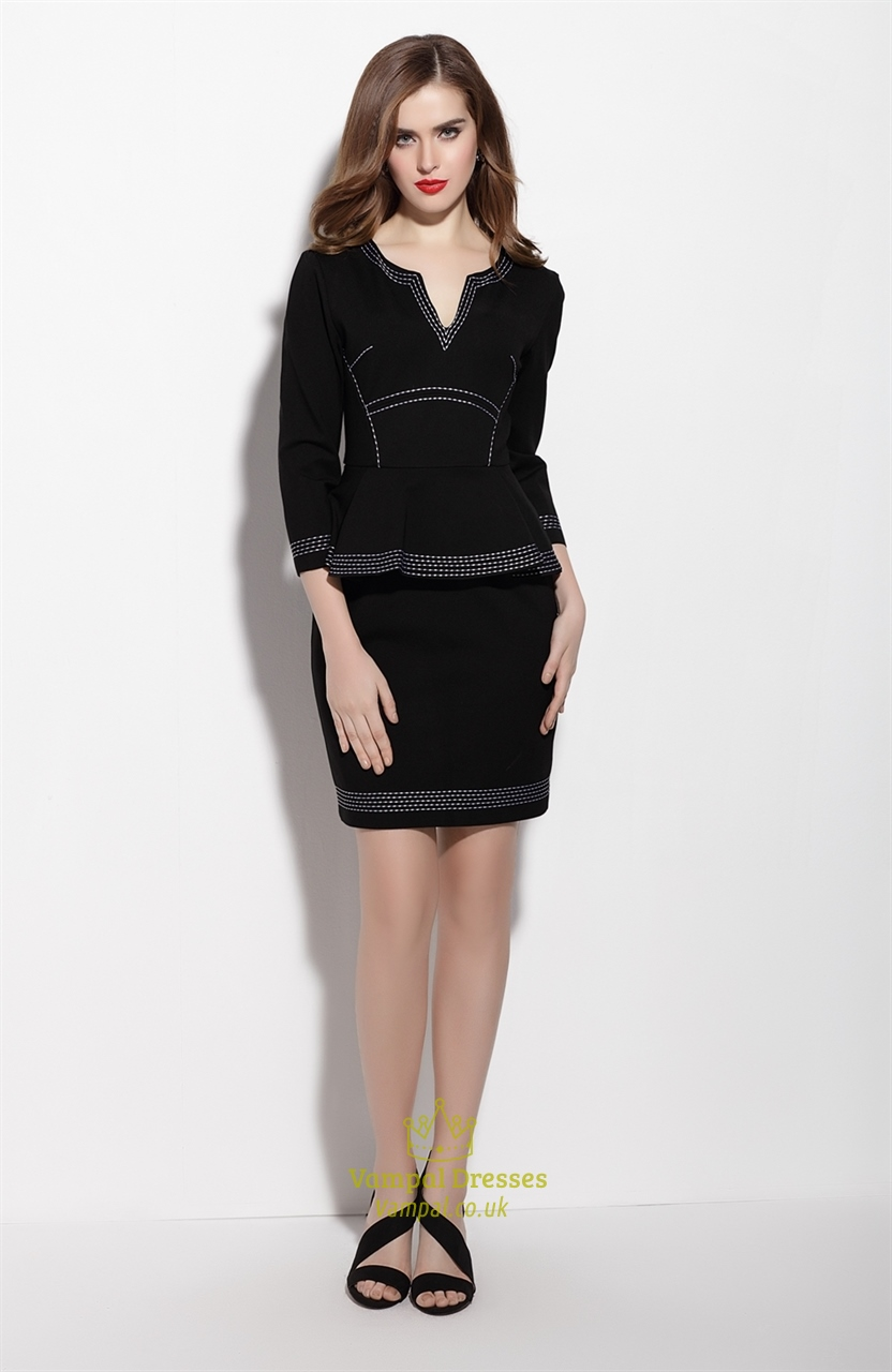 Black Long Sleeve Sheath Peplum Dress For Work Vampal