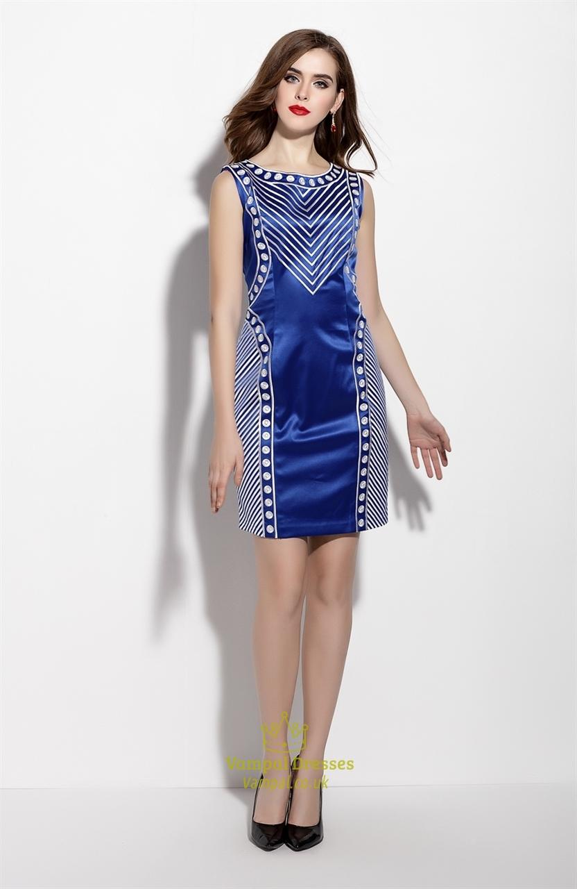 Casual Royal Blue Sleeveless Striped Sheath Cocktail Dress