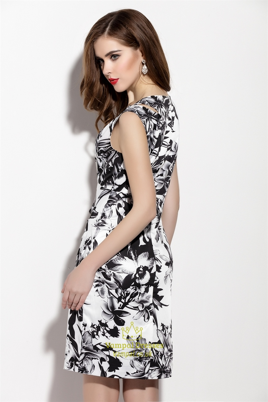 White And Black Sleeveless Floral Print Sheath Cocktail