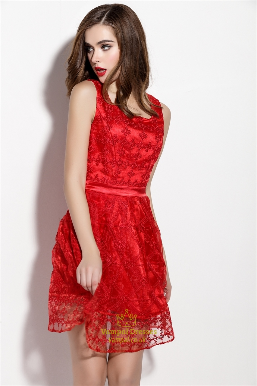 Red Sleeveless Tulle Overlay Fit And Flare Skater Dress