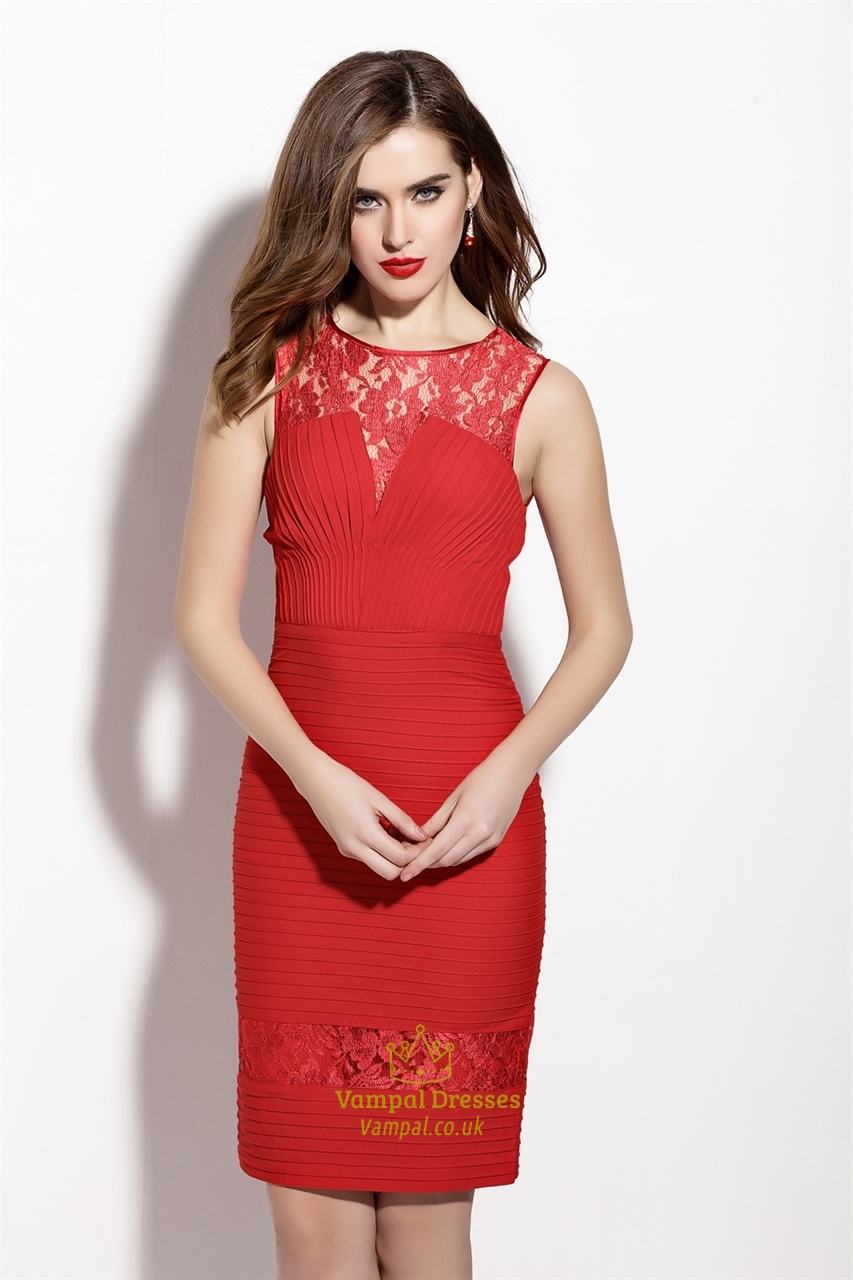red sleeveless lace illusion neckline sheath cocktail