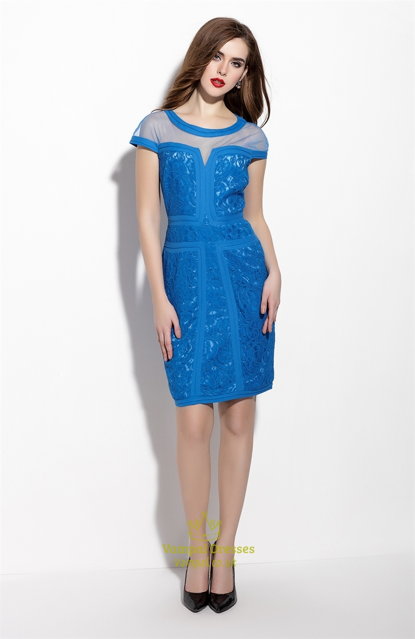 blue short sleeve sheath cocktail dress with lace applique