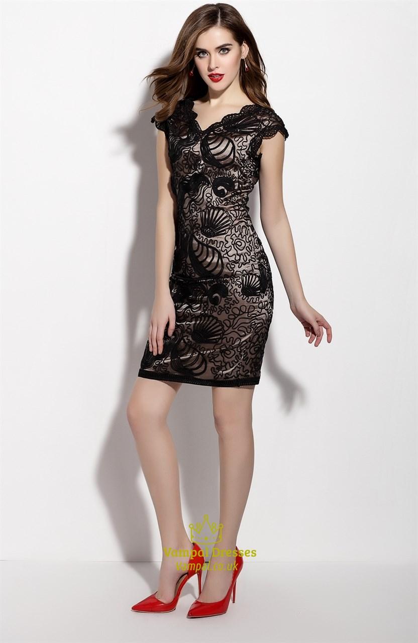 Black V Neck Sleeveless Overlay Sheath Cocktail Dress