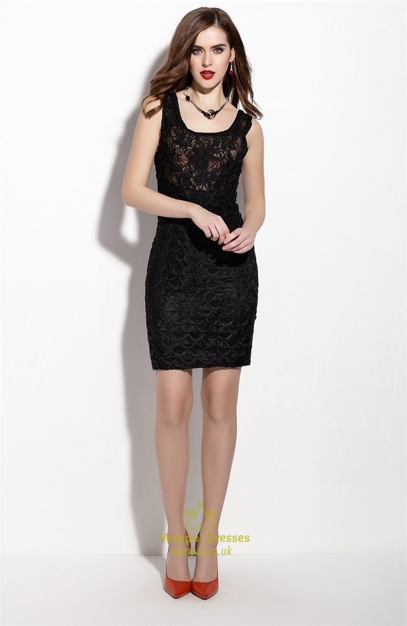 Black Sleeveless Lace Overlay Sheath Cocktail Dress